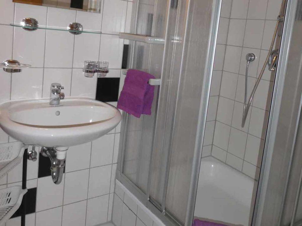 Zimmer-Einzelzimmer-Badezimmer-Balkon-Badezimmer-Dusche-WC-26qm-Ferienwohnung-Lueneburger-Heide-Niedersachsen-Heideort-Luenzen-Schneverdingen-Ferienhof-Reiterhof